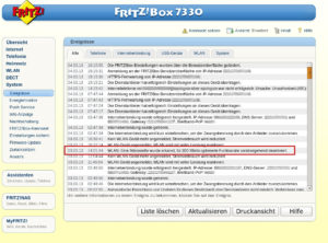 Fritz!Box Log Mikrowelle