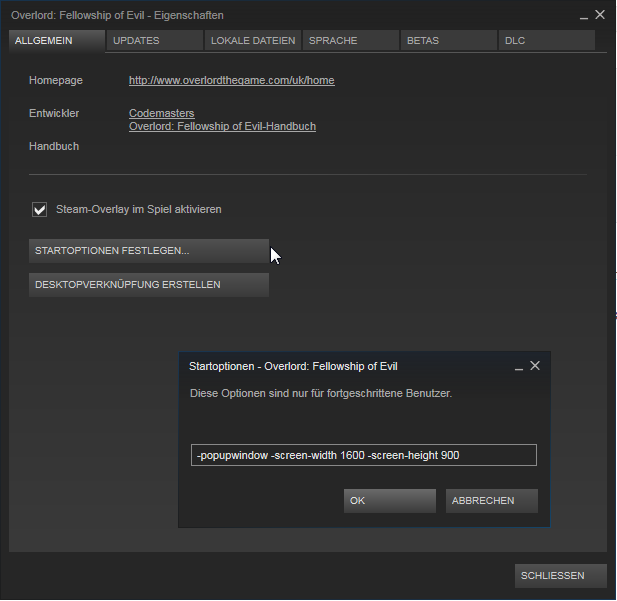 Startparameter Steam