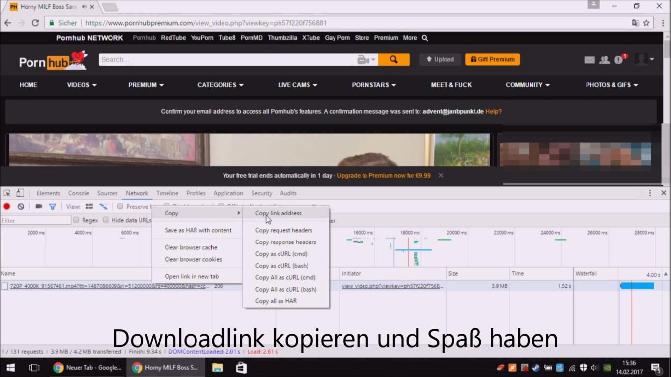 Achtung, höchst illegal: Videos mittels Browser und Entwickler-Tools herunterladen.