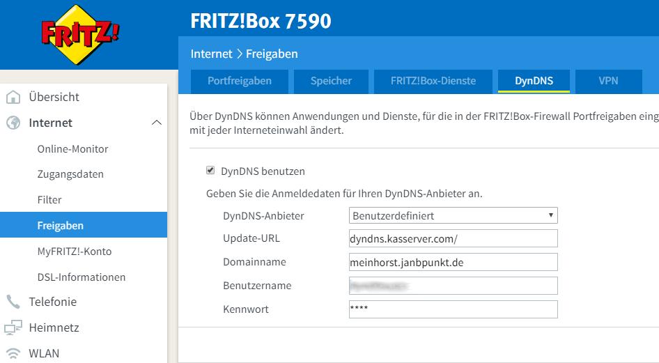 fritz.box - DDNS-Eisntellungen
