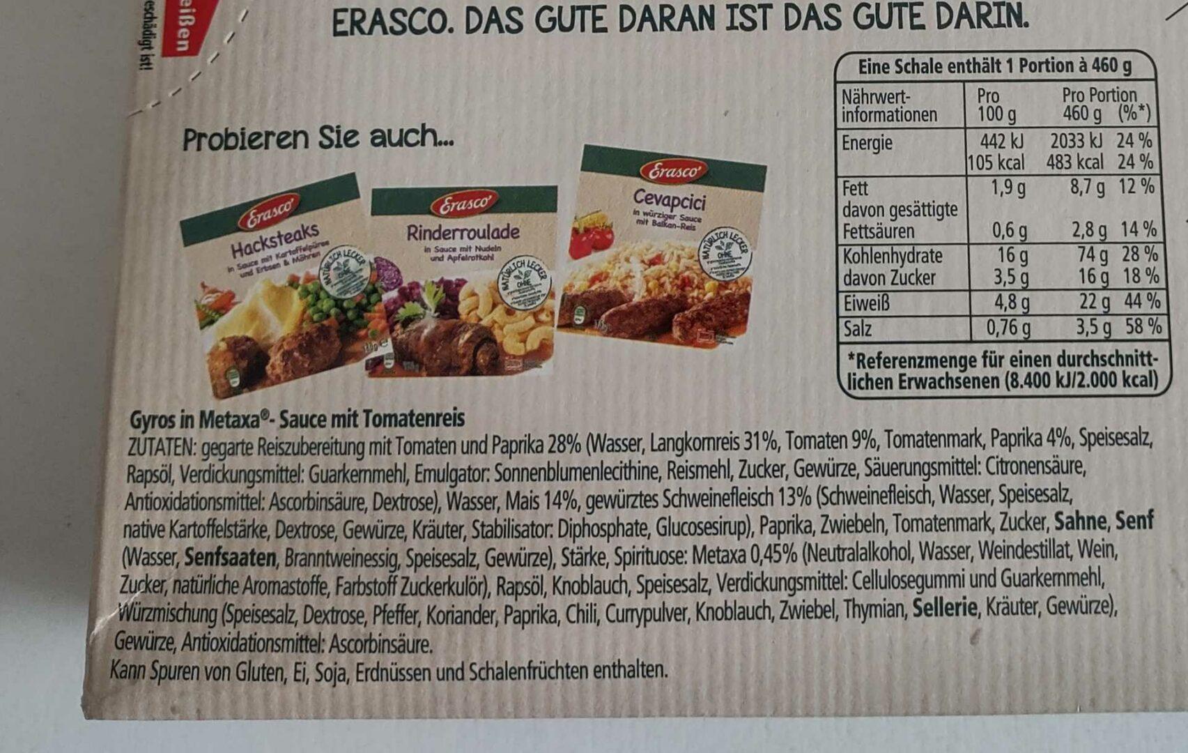 Erasco Gyros Mit Metaxa®-Sauce Zutatenliste